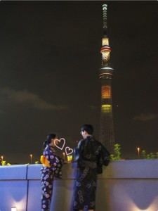 Couple with sky tree